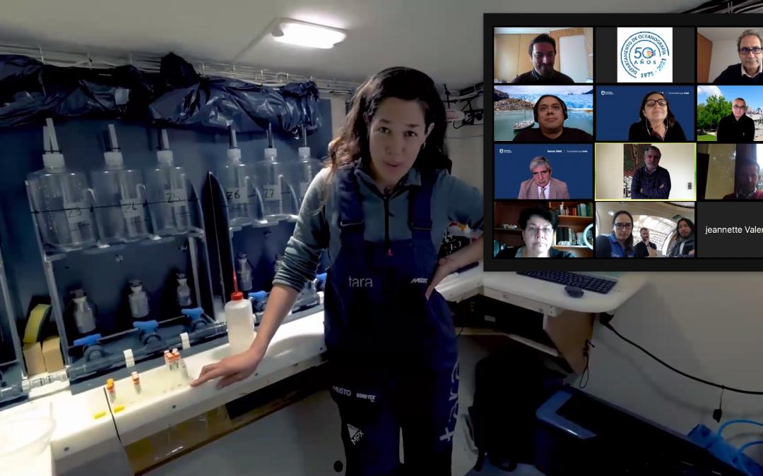 Autoridades UdeC se reúnen con científicos del programa CEODOS Chile a bordo de la goleta Tara